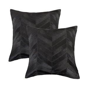 Oreillers carrés en peau de vache Torino Chevron de Natural de Lifestyle, 18 po x 18 po, noir, 2 mcx
