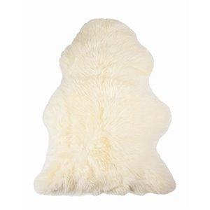 Tapis intérieur en peau de mouton fait à la main Milan Natural de Lifestyle, 2 po x 3 po, ivoire