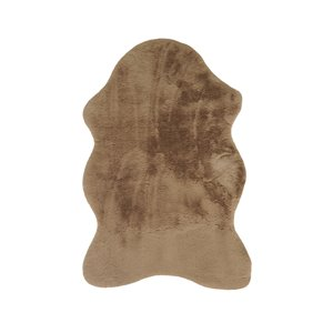 Lifestyle Faux Rabbit Taupe Indoor Machine-Made Area Rug - 2-in x 3-in