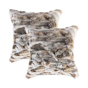 Oreillers carrés en fourrure de lapin de Natural de Lifestyle, 18 po x 18 po, brun/blanc, 2 mcx