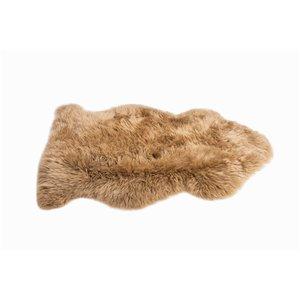 Tapis intérieur en peau de mouton fait à la main Milan Natural de Lifestyle, 2 po x 3 po, morchella