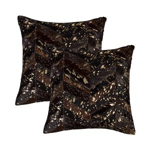 Natural by Lifestyle Torino Cowhide Chevron 2-Piece Chocolate and Gold 18-in x 18-in Square Indoor Decorative Pillow