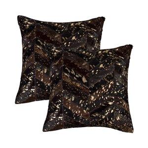 Oreillers carrés en peau de vache Torino Chevron de Natural de Lifestyle, 18 po x 18 po, chocolat et or, 2 mcx