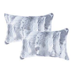 Natural by Lifestyle Rabbit Fur 2-Piece Gray 12-in x 20-in Rectangular Indoor Decorative Pillow