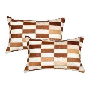 Oreillers rectangulaires en peau de vache Torino Linear de Natural de Lifestyle, 12 po x 20 po, marron blanc, 2 mcx