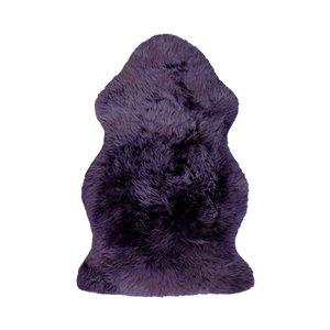 Tapis intérieur en peau de mouton fait à la main Milan Natural de Lifestyle, 2 po x 3 po, prune