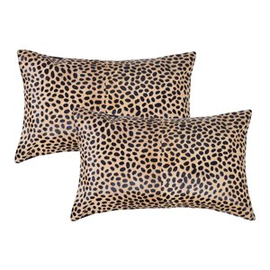 Natural by Lifestyle Torino Cowhide Togo 2-Piece Cheetah 12-in x 20-in Rectangular Indoor Decorative Pillow