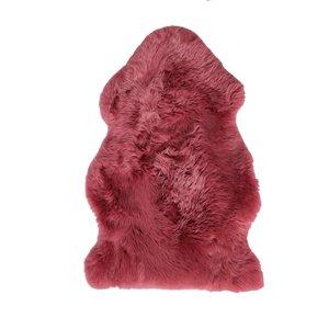 Tapis intérieur en peau de mouton fait à la main Milan Natural de Lifestyle, 2 po x 3 po, framboise