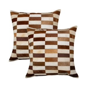 Natural by Lifestyle Torino Cowhide Linear 2-Piece Brown/White 18-in x 18-in Square Indoor Decorative Pillow