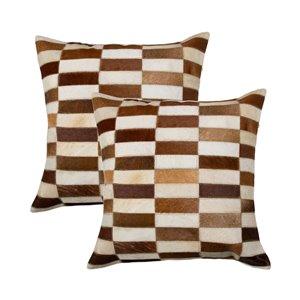 Oreillers carrés en peau de vache Torino Linear de Natural de Lifestyle, 18 po x 18 po, marron blanc, 2 mcx