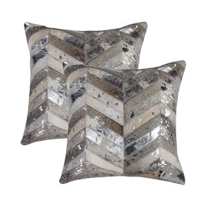 Natural by Lifestyle Torino Cowhide Chevron 2-Piece Gray/Silver 18-in x 18-in Square Indoor Decorative Pillow