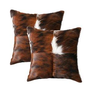 Oreillers carrés en peau de vache Torino Quattro de Natural de Lifestyle, 18 po x 18 po, tricolore, 2 mcx