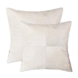 Oreillers carrés en peau de vache Torino Quattro de Natural de Lifestyle, 18 po x 18 po, blanc, 2 mcx