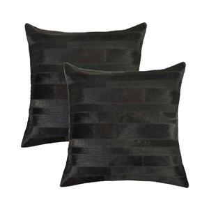 Oreillers carrés en peau de vache Torino Madrid de Natural de Lifestyle, 18 po x 18 po, noir, 2 mcx
