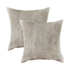 Natural by Lifestyle Torino Cowhide Exotic 2-Piece Natural and Light Gray 18-in x 18-in Square Indoor Decorative Pillow