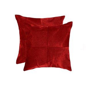 Oreillers carrés en peau de vache Torino Quattro de Natural de Lifestyle, 18 po x 18 po, rouge, 2 mcx