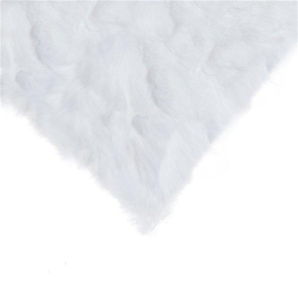 Oreillers carrés en fourrure de lapin de Natural de Lifestyle, 18 po x 18 po, blanc, 2 mcx