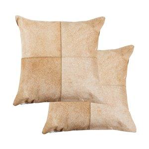 Oreillers carrés en peau de vache Torino Quattro de Natural de Lifestyle, 18 po x 18 po, brun/blanc, 2 mcx
