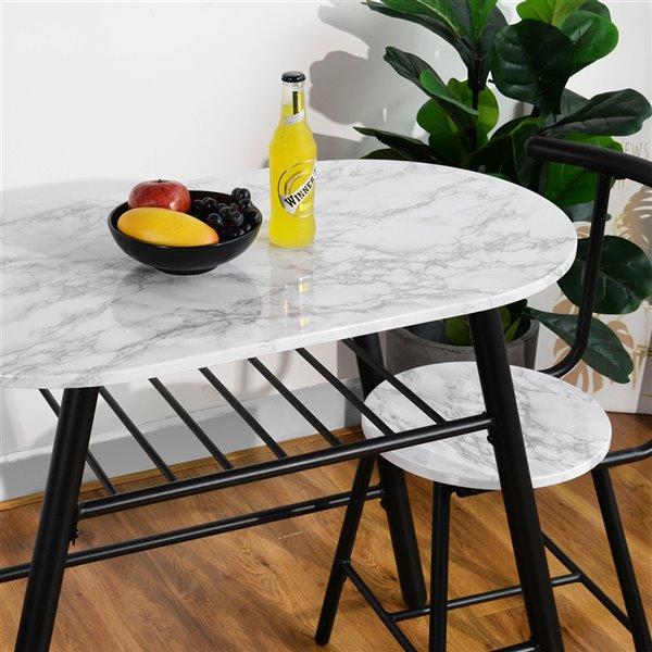 Ensemble de salle à manger de FurnitureR, 3 pièces, blanc
