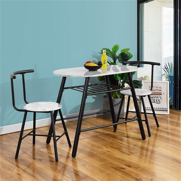 FurnitureR Kitchen Breakfast Dining Set - 3 Pieces - White