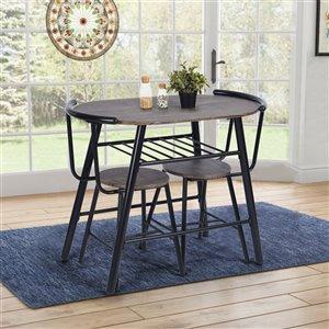 Ensemble de salle à manger de FurnitureR, 3 pièces, brun