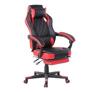 Chaise d'ordinateur ergonomique avec repose-pieds de FurnitureR, rouge
