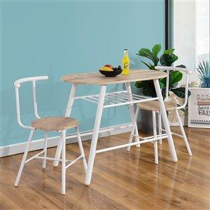 FurnitureR Kitchen Breakfast Dining Set - 3 Pieces - Oak