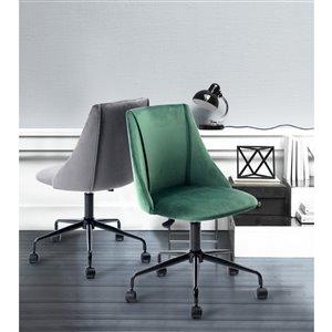 FurnitureR Adjustable Velvet Office Chair - Green