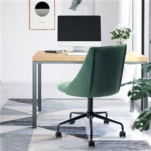 Chaise de bureau réglable en velours de FurnitureR, vert