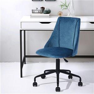 FurnitureR Adjustable Velvet Office Chair - Blue