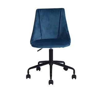 Chaise de bureau réglable en velours de FurnitureR, bleu