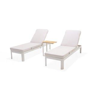 Chaise longues Portals de Scancom et table d'appoint, aluminium, beige, ens. de 3