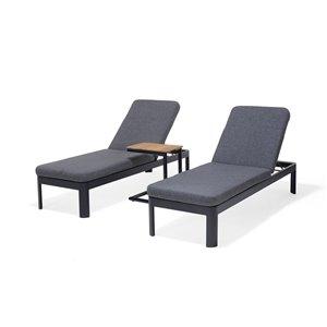 Chaise longues Portals de Scancom et table d'appoint, aluminium, noir, ens. de 3