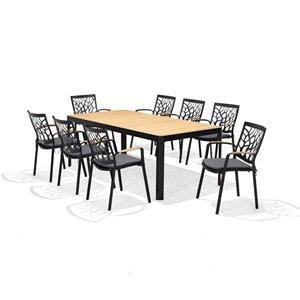 Scancom Portals Patio Dining Set - Aluminum - Black - 9-Piece