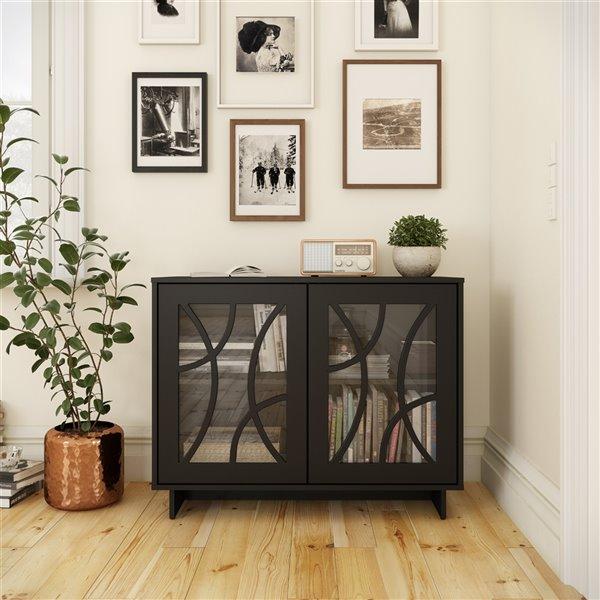 Armoire de rangement à 2 portes contemporain Paragon de Nexera, noir