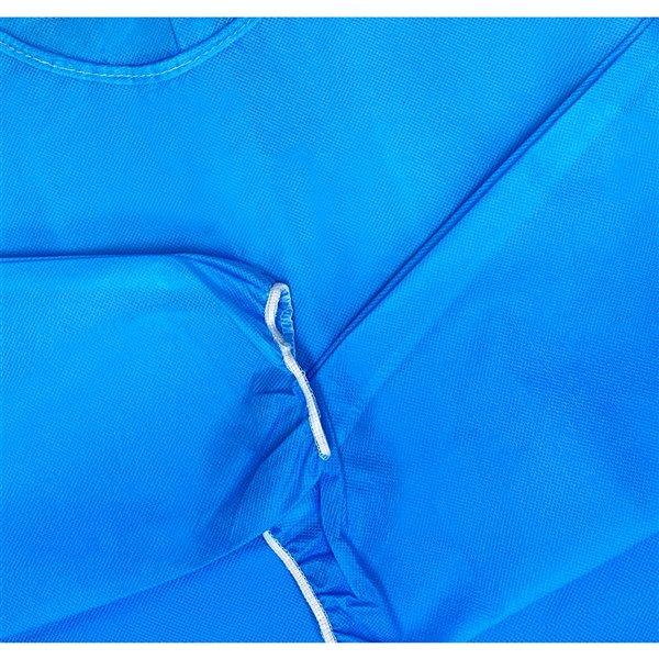 Blouses d'isolation jetables de Danameco, polypropylène non-tissé, bleu, taille standard, paquet de 5
