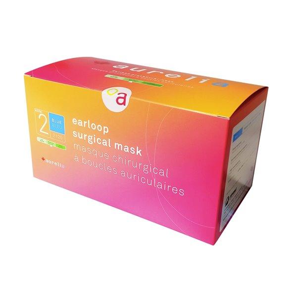 Masques chirurgicaux à boucles auriculaires 2120 d'Aurelia, ASTM 2, bleu, paquet de 10  boîtes de 50