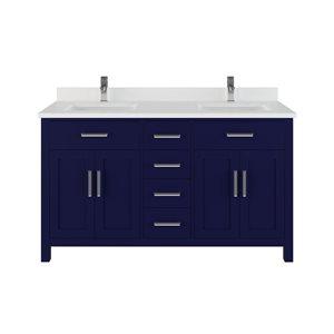 Meuble-lavabo double Kate de Spa Bathe, 60 po, bleu marin