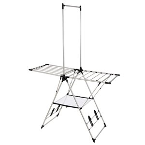Greenway Large Drying Rack with Mesh Shelf - Indoor/Outdoor - Stainless Steel - 79.5-in x 55-in