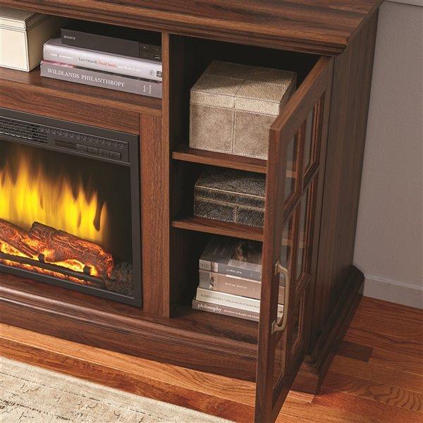 Muskoka Brookfield Media Electric Fireplace - 59-in - Burnished Walnut