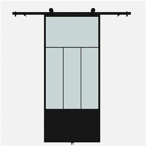 Porte de grange préfinie Division de Colonial Elegance avec trousse d'installation, verre givré, 37 po x 84 po, noir