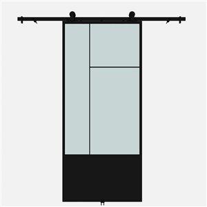 Porte de grange préfinie Cicero de Colonial Elegance avec trousse d'installation, verre givré, 37 po x 84 po, métal noir