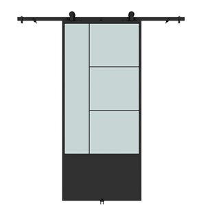 Colonial Elegance Opera Prefinished Barn Door with Hardware Kit - Frosted Glass - 37-in x 84-in - Black Metal