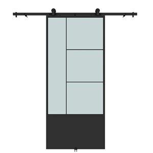 Porte de grange préfinie Opera de Colonial Elegance avec trousse d'installation, verre givré, 37 po x 84 po, métal noir