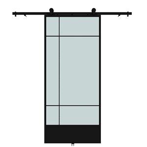Porte de grange préfinie Bastille de Colonial Elegance avec trousse d'installation, verre givré, 37 po x 84 po, noir