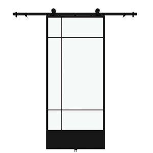 Porte de grange préfinie Bastille de Colonial Elegance avec trousse d'installation, verre clair, 37 po x 84 po, noir
