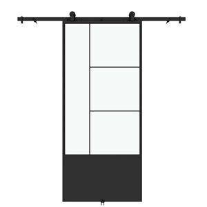 Porte de grange préfinie Opera de Colonial Elegance avec trousse d'installation, verre clair, 37 po x 84 po, métal noir