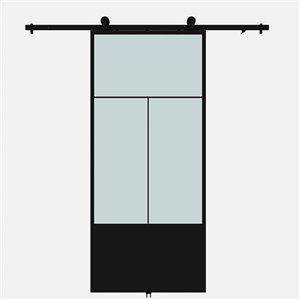Porte de grange préfinie Nation de Colonial Elegance avec trousse d'installation, verre givré, 37 po x 84 po, métal noir