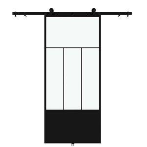 Porte de grange préfinie Division de Colonial Elegance avec trousse d'installation, verre clair, 37 po x 84 po, noir