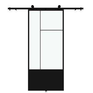 Porte de grange préfinie Cicero de Colonial Elegance avec trousse d'installation, verre clair, 37 po x 84 po, métal noir